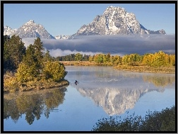 Wyoming, Oxbow, Canoe, Bend, Góry, Rzeka, Grand, USA, Teton